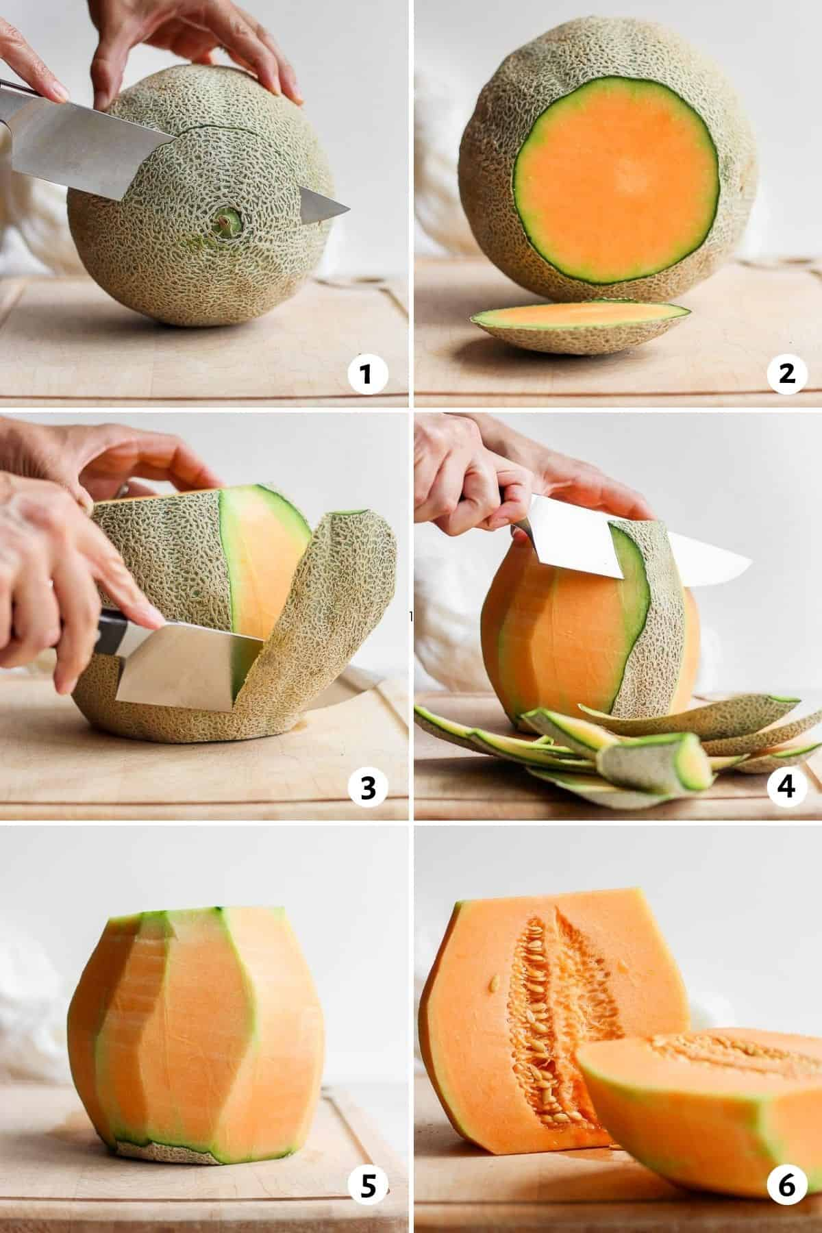 Step by step shot for how to cut a melon