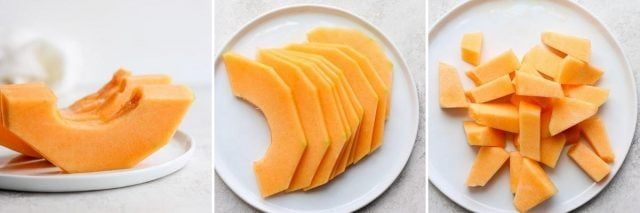 3 collage image of cantaloup wedges, slices and cubes