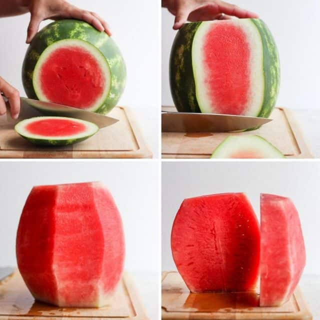 Step by step shots for how to cut a watermelon without the rind