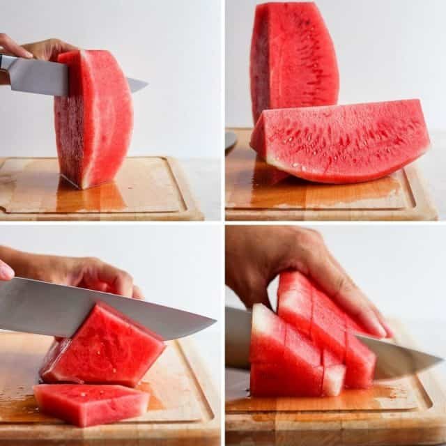 Continuing to show the steps for cutting a watermelon
