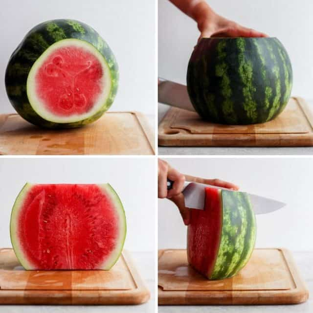 Step by step shots for how to cut a watermelon with rind on
