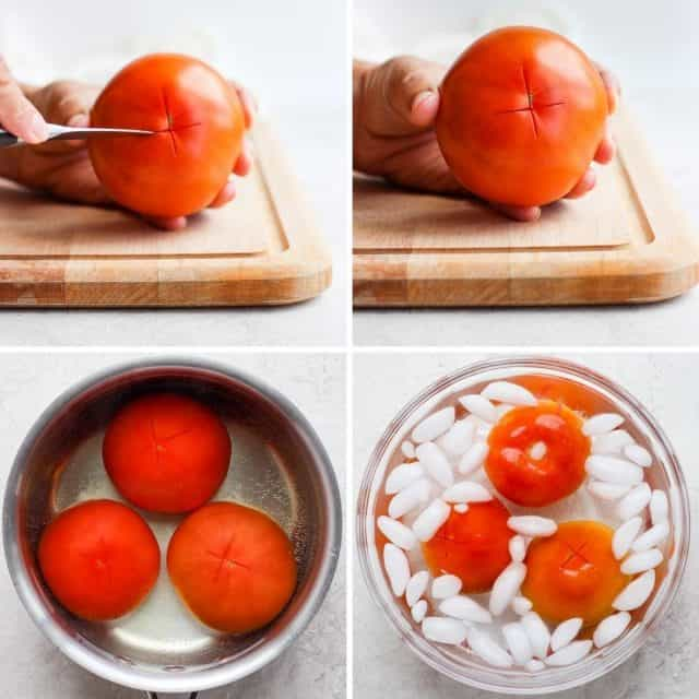 Collage showing how to mark x at the bottom of tomato, boil and blanch it