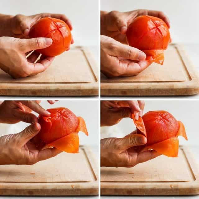 Collage showing step by step how to peel a tomato after boiling