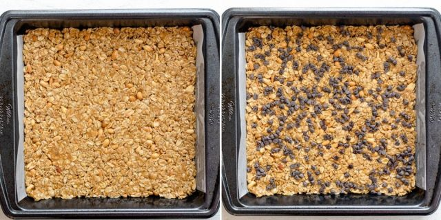 2 photos to show how the mixture looks pressed into the pan before and after the chocolate chips are added