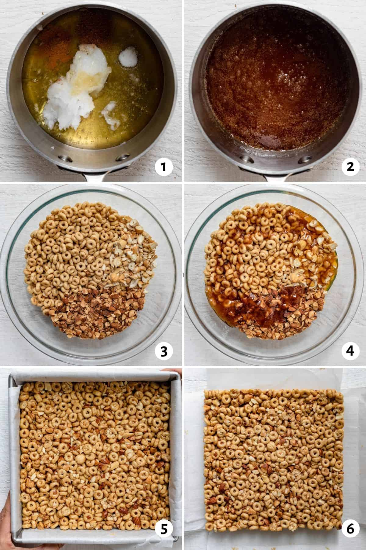 6 image collage to show how to make the recipe, by making the honey syrup and then drizzling over the cereal and nuts
