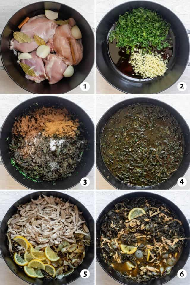 6 images collage for how to make the recipe all in one pot