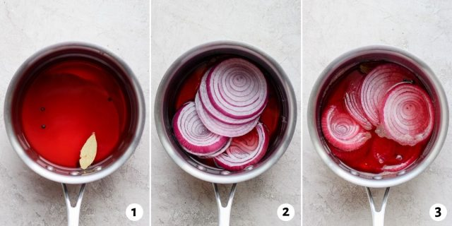 3 photo collage to show steps for how to pickle onions the quick qay