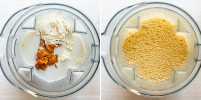 Two photo collage to show ingredients in blender before and after blending