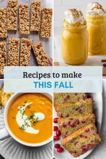 Collage of images for 30 recipes to make this fall