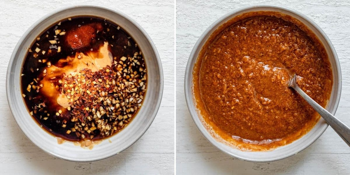 Collage of two images showing the sauce ingredients before and after mixing