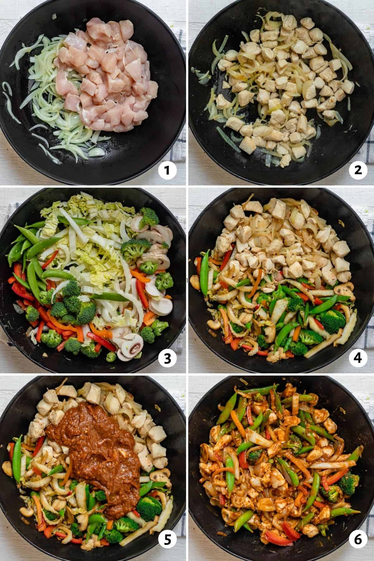 Collage of 6 images showing how to make the recipe in a wok