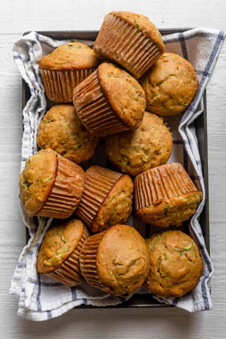 Zucchini bread muffins in a large platter with