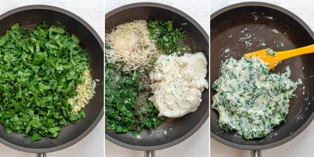 Steps to show how to cook the spinach ricotta mixture