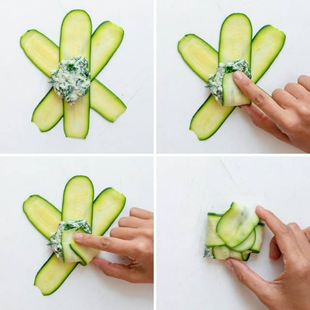 Steps to show to to fold the zucchini ravioli