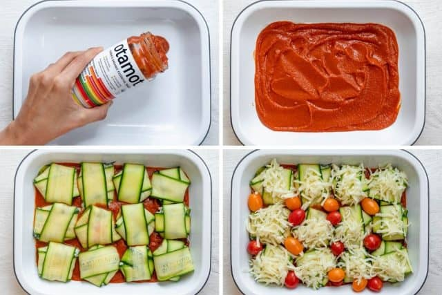4 images to show steps for preparing the baking dish with the sauce, then the ravioli followed by the cheese