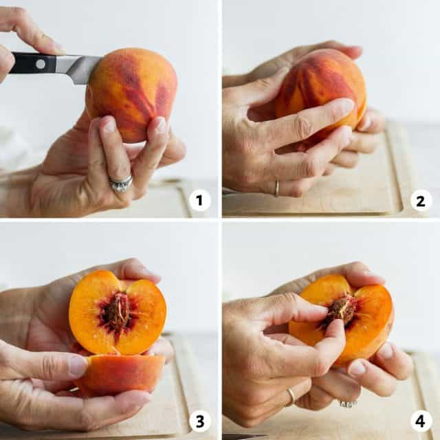 4 images showing steps for how to cut a peach