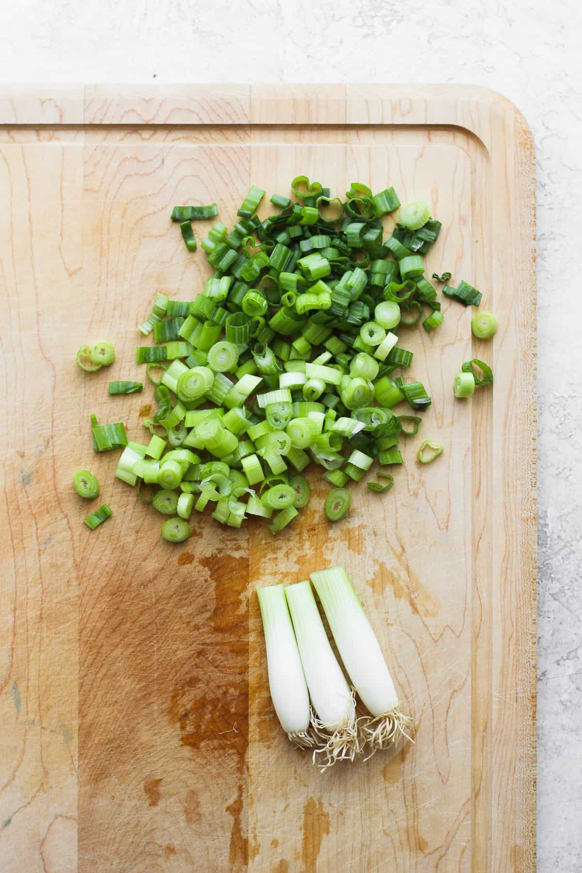 Chopped green onions - greens separated from whites