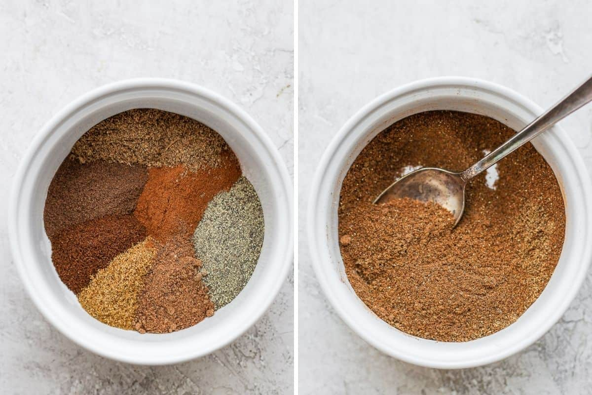 Two image collage showing all the spices together in one bowl before and after mixing