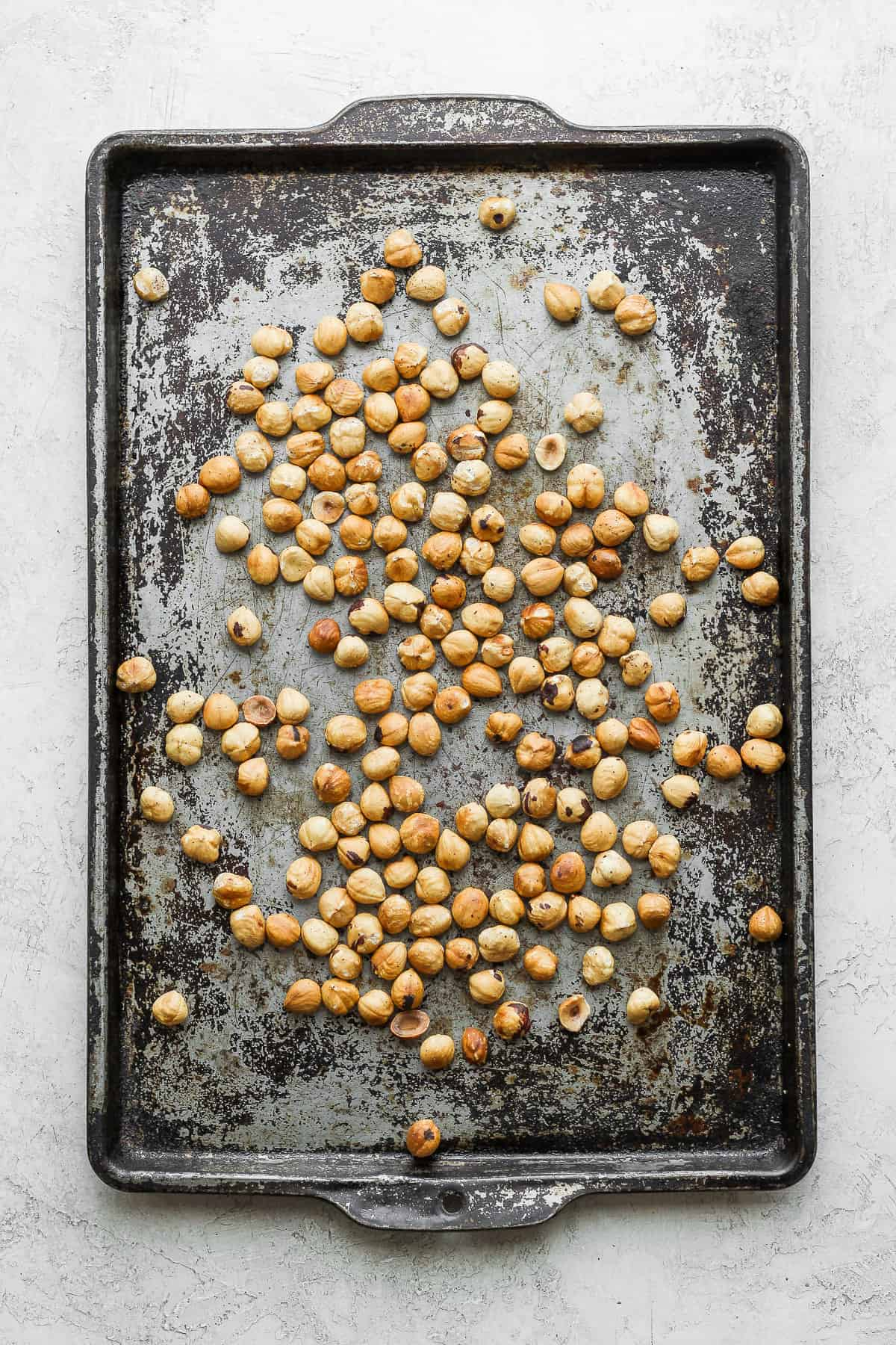 Sheet pan to roast the hazelnuts before blending