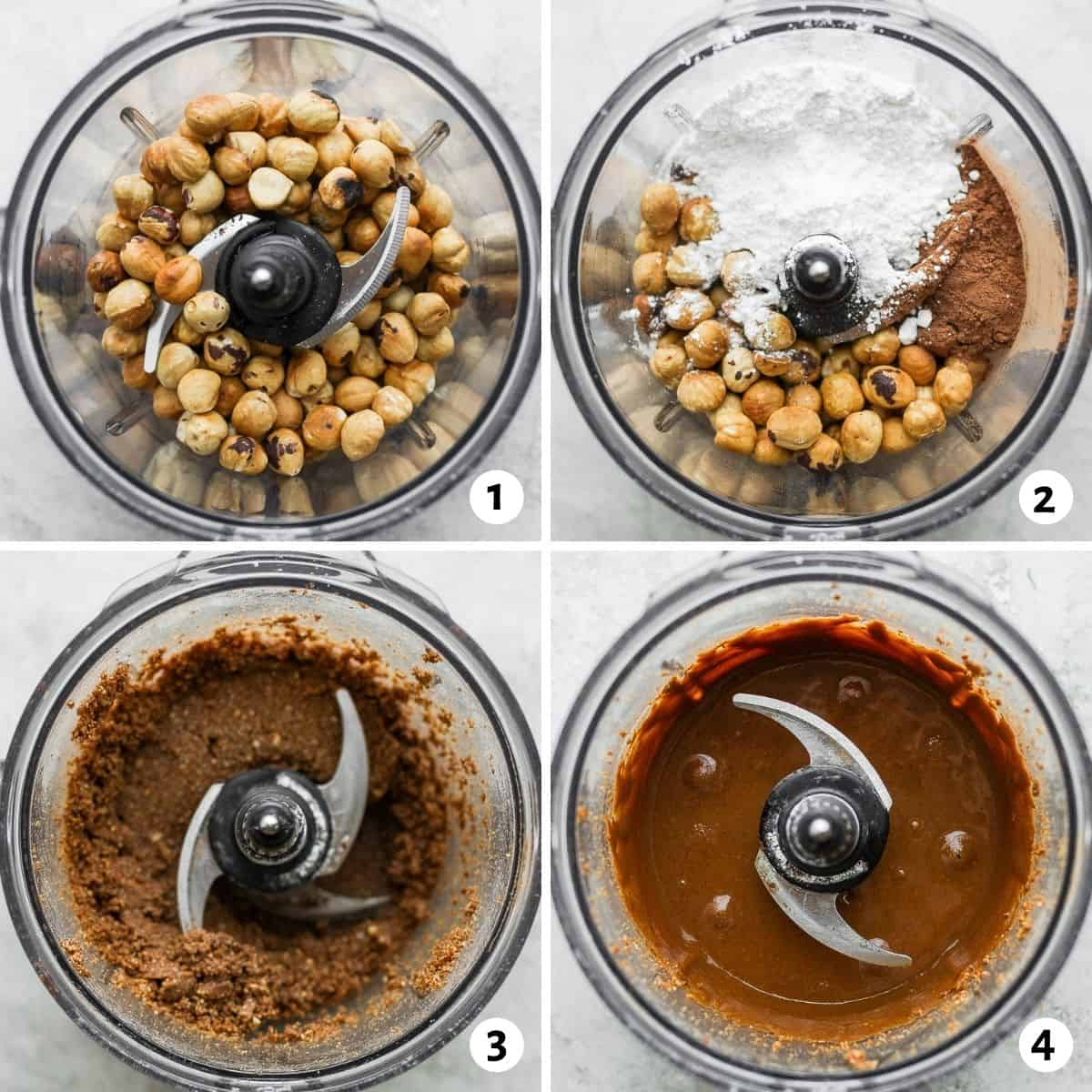 4 photos in collage to show the steps for blending the ingredients to make the spread in a food processor