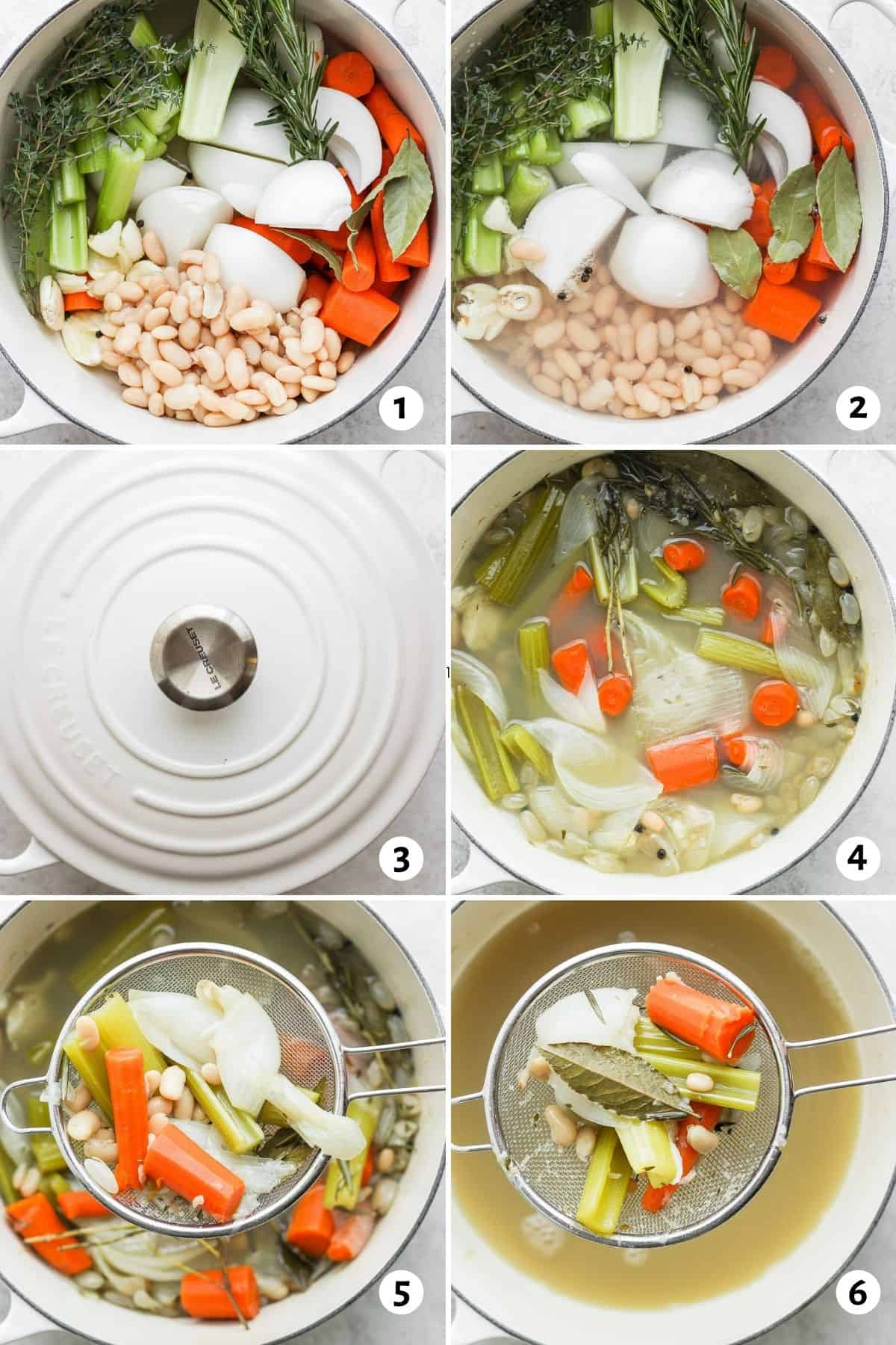 6 image collage showing a dutch oven with the ingredients in it and the steps to make the recipe