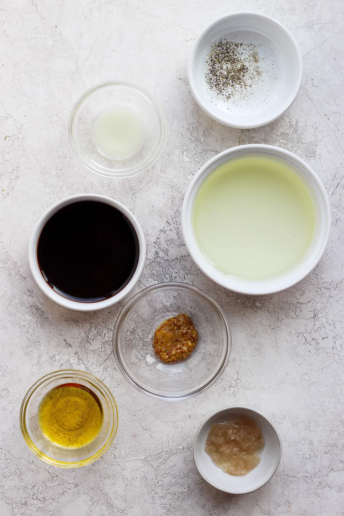 Ingredients to make easy salad dressing - broken vinaigrette