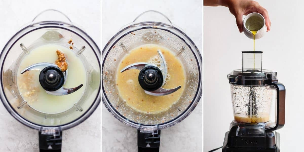 Three image collage showing the steps for how to make emulsified salad dressing