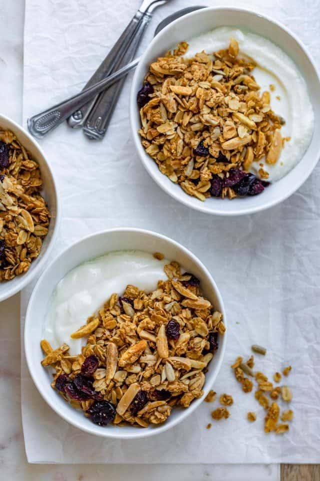 Almond cranberry granola over greek yogurt bowls
