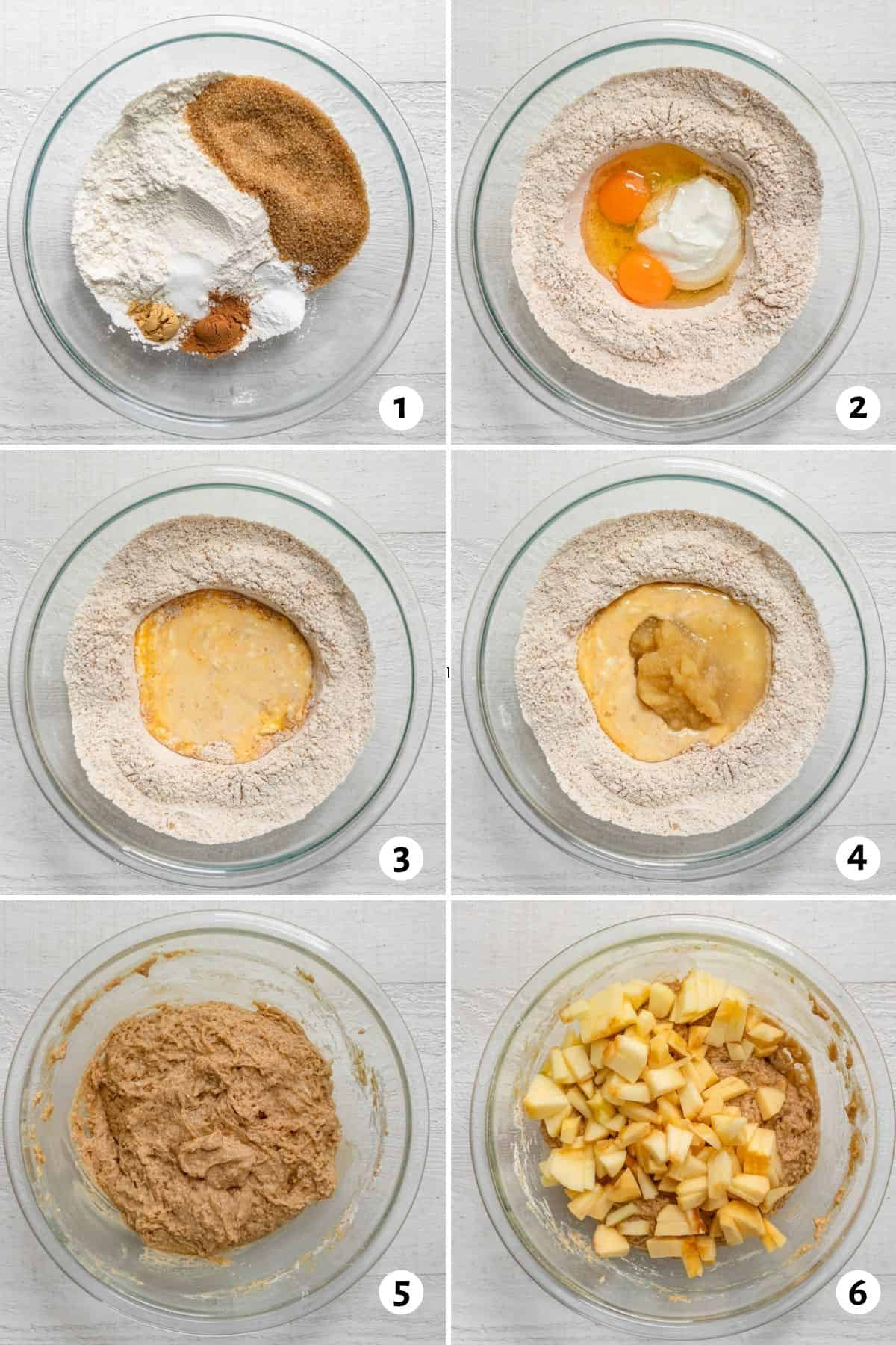 6 image collage showing one bowl and the ingredients getting combined to make the muffin recipe