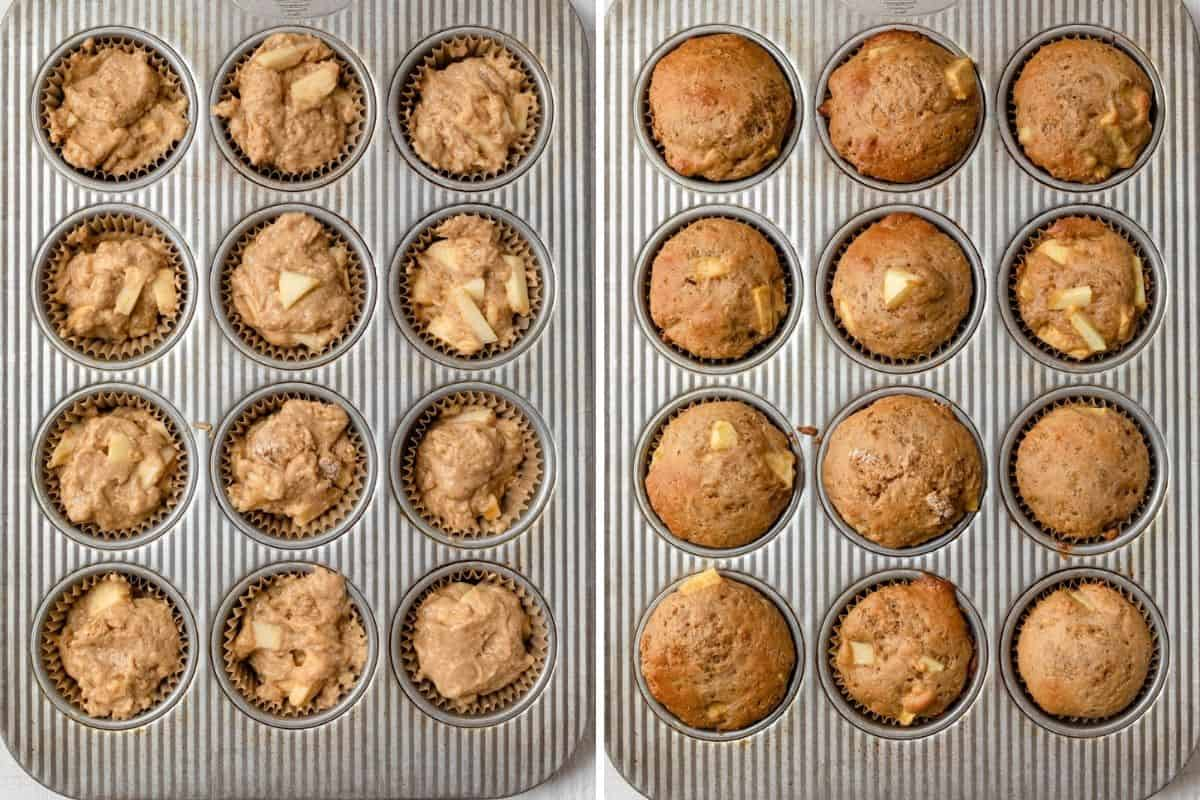 2 photo collage showing the muffins in a tin before and after baking