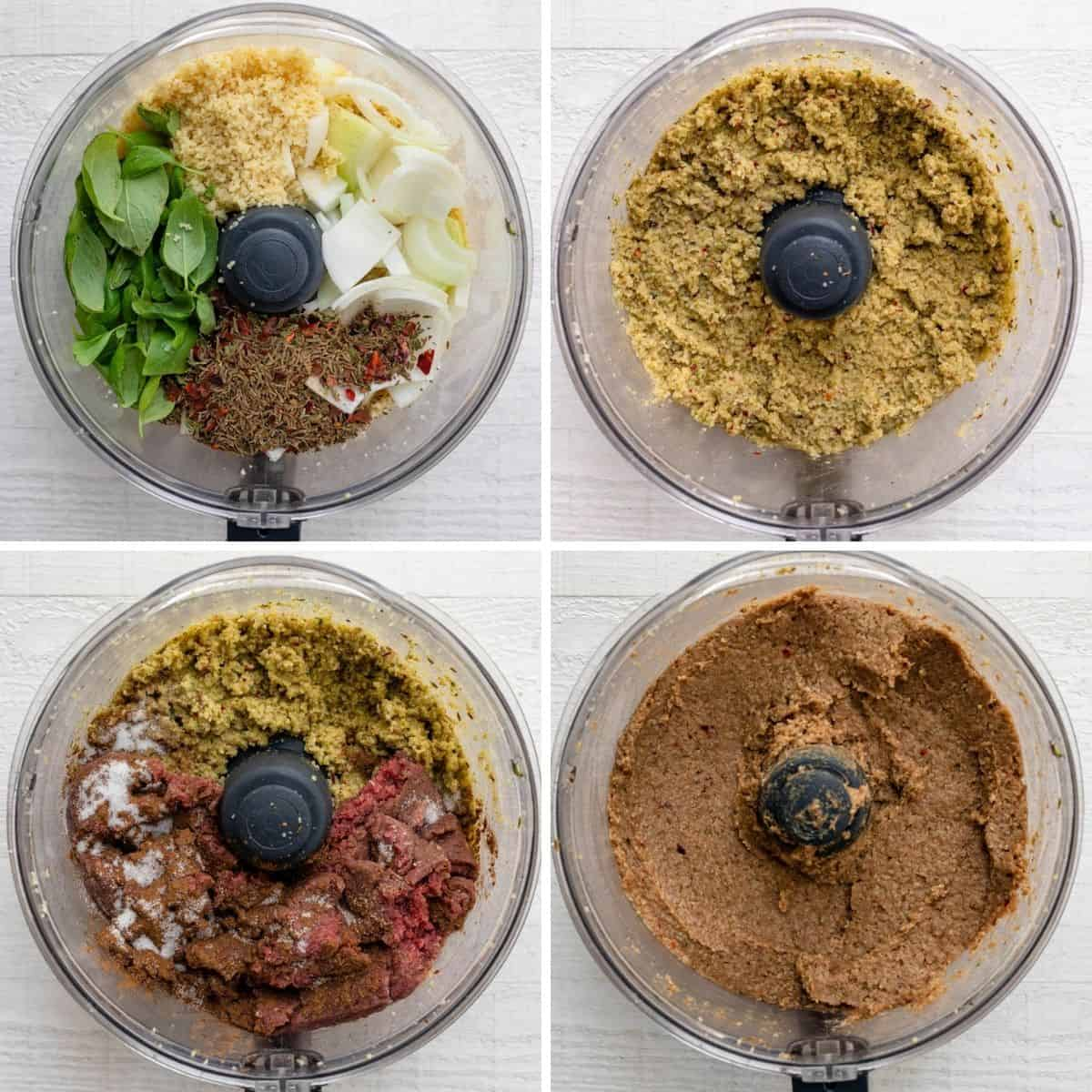4 photo collage showing the kibbeh ingredients in a food processor, first the bulgur, onions and spices, then the mixture, next with beef and then the final outcome