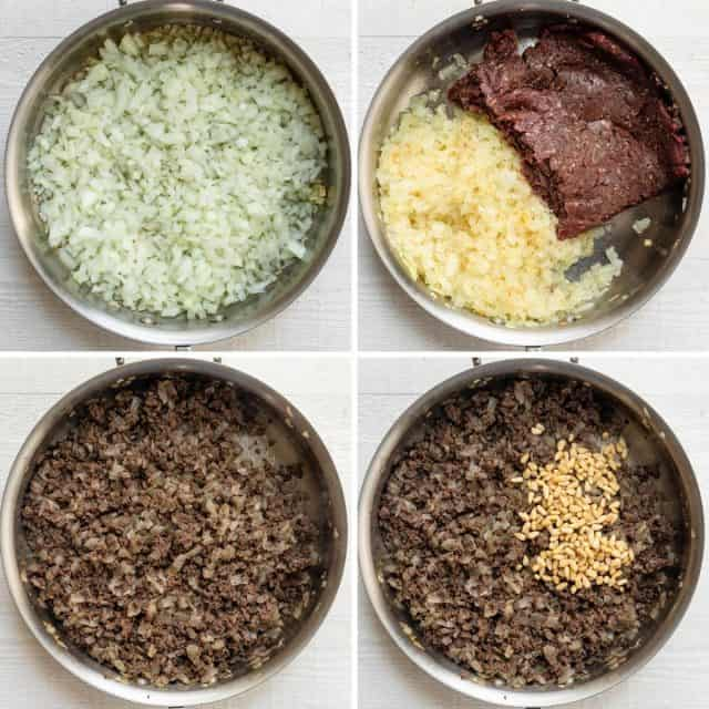 4 photo collage showing the hashweh mixture, starting with the onions, then beef, then spices and pine nuts