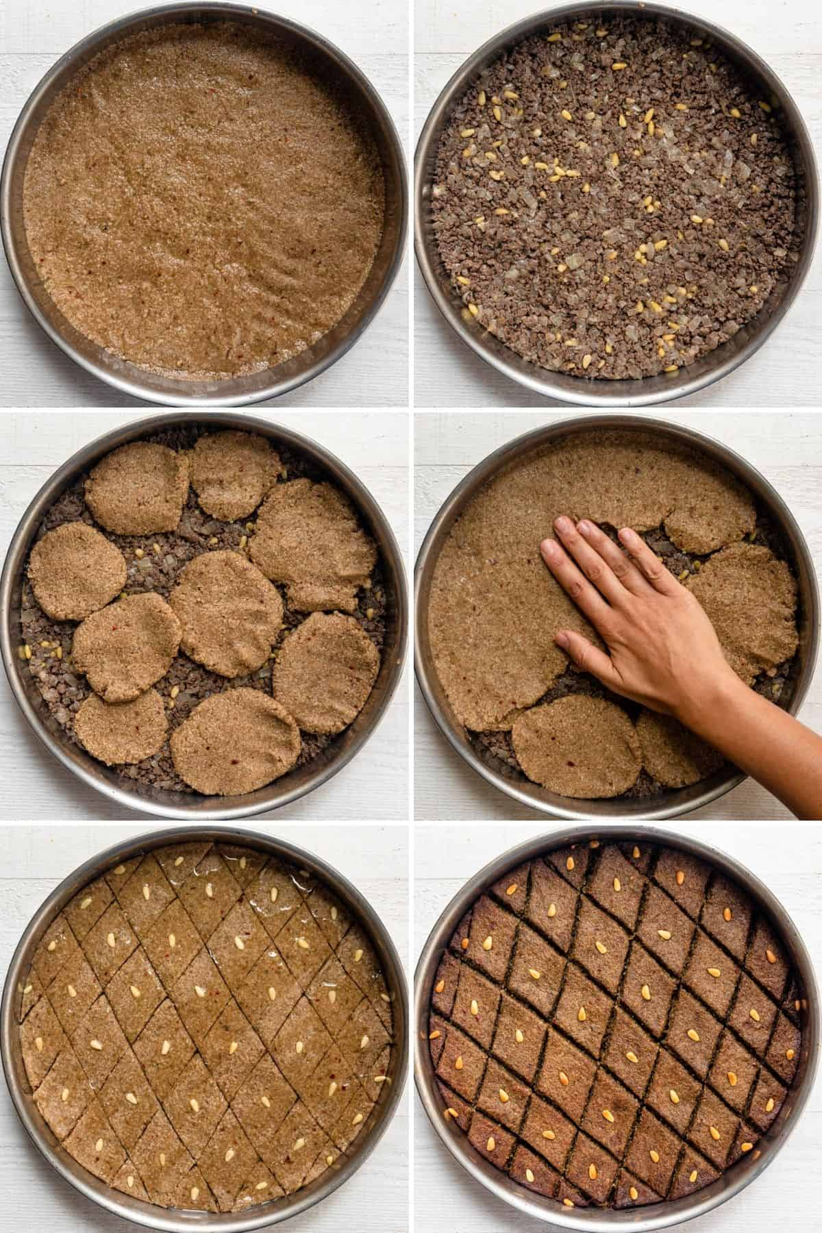 6 photo collage showing how to layer the baked kibbeh in a round baking dish