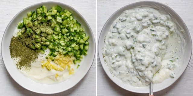 Two image collage showing the ingredients in a bowl before and after mixing