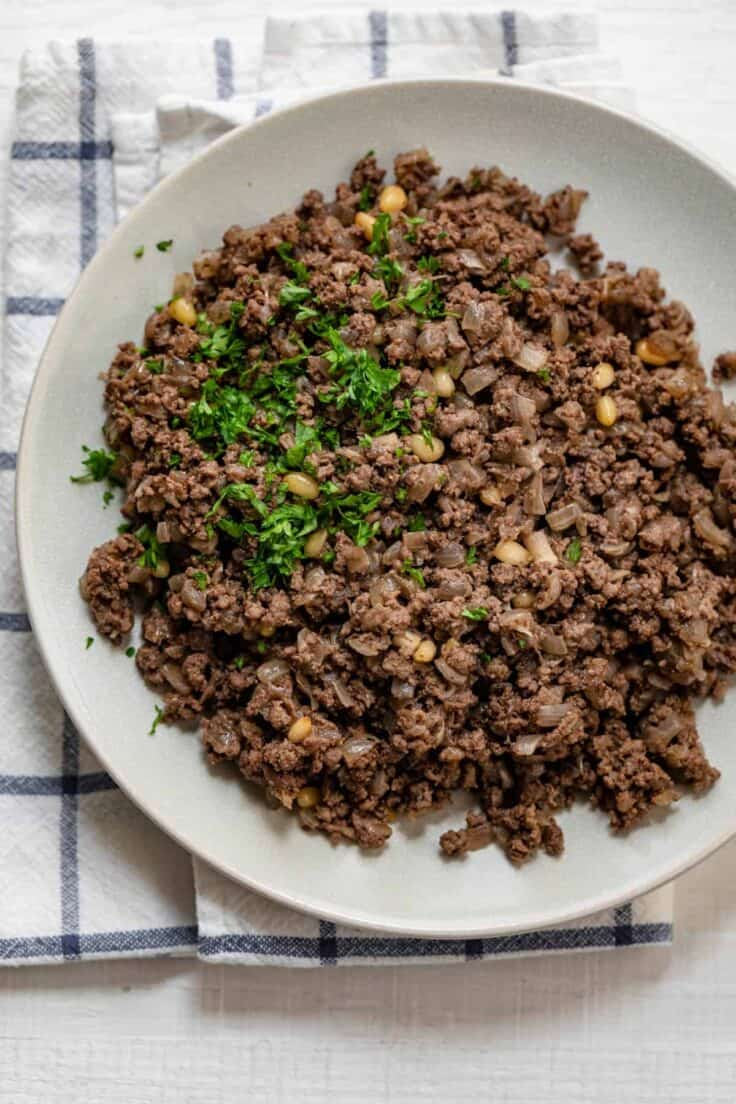 Lebanese style hashweh with pine nuts and parsley