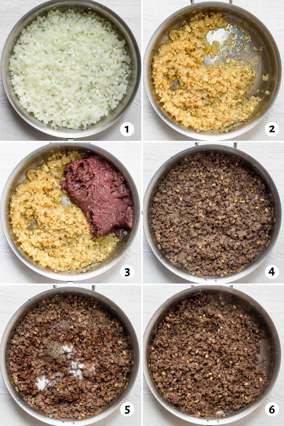 6 image collage to show how to make Lebanese ground beef with onions and spices