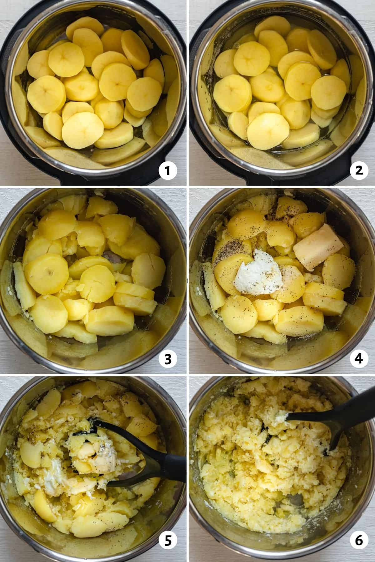 6 photo collage to show how to make the recipe in an instant pot