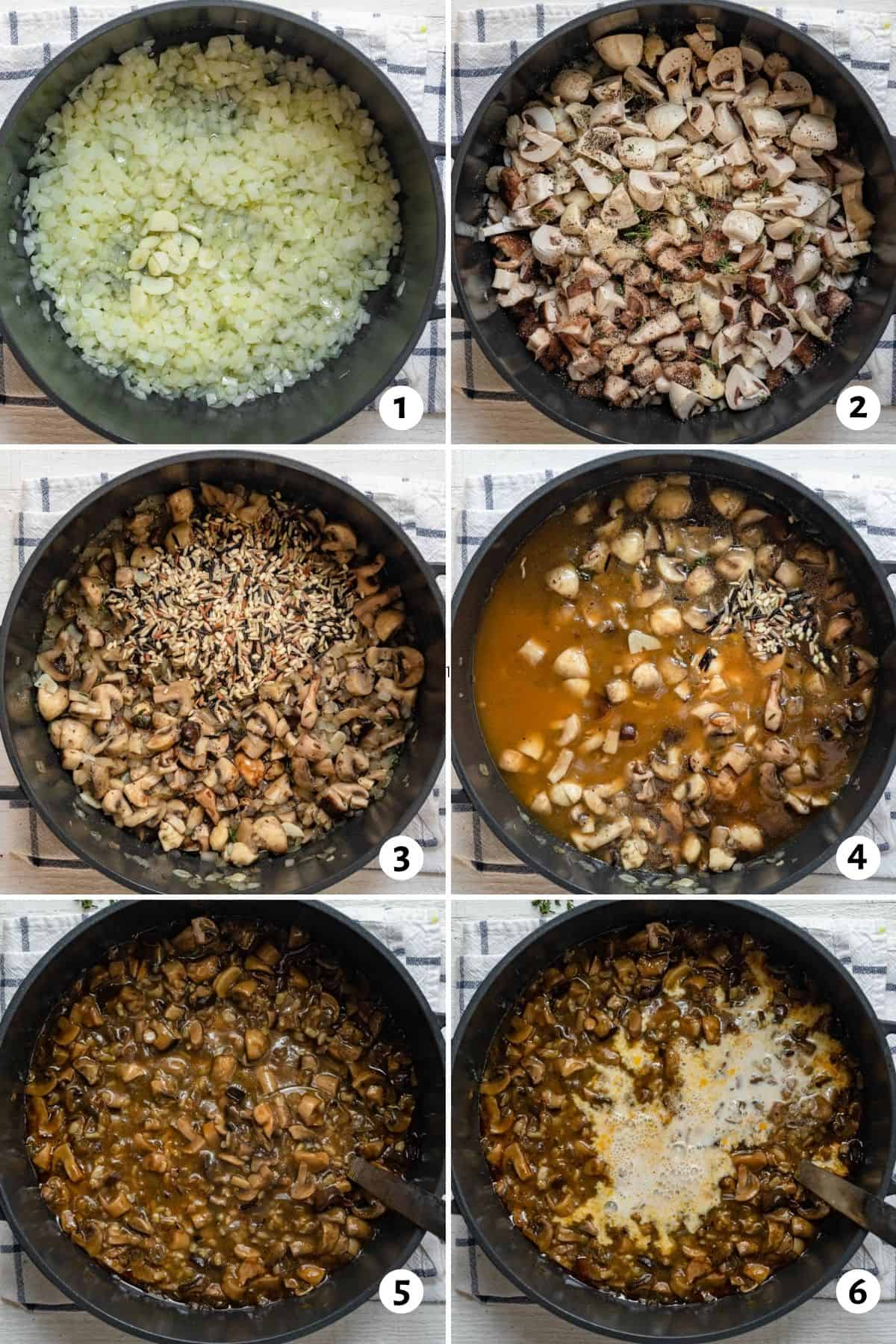 6 image collage to show to make the soup recipe all in one pot