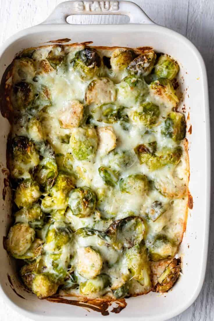 Brussel Sprout Casserole after baking in the oven with cheesy top