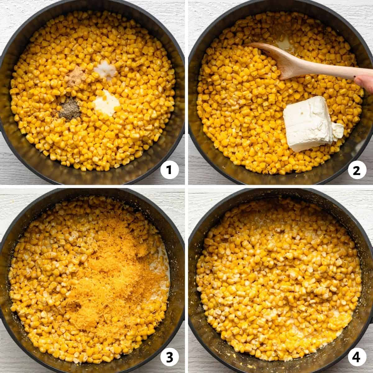 4 image collage for how to make the recipe in one pot