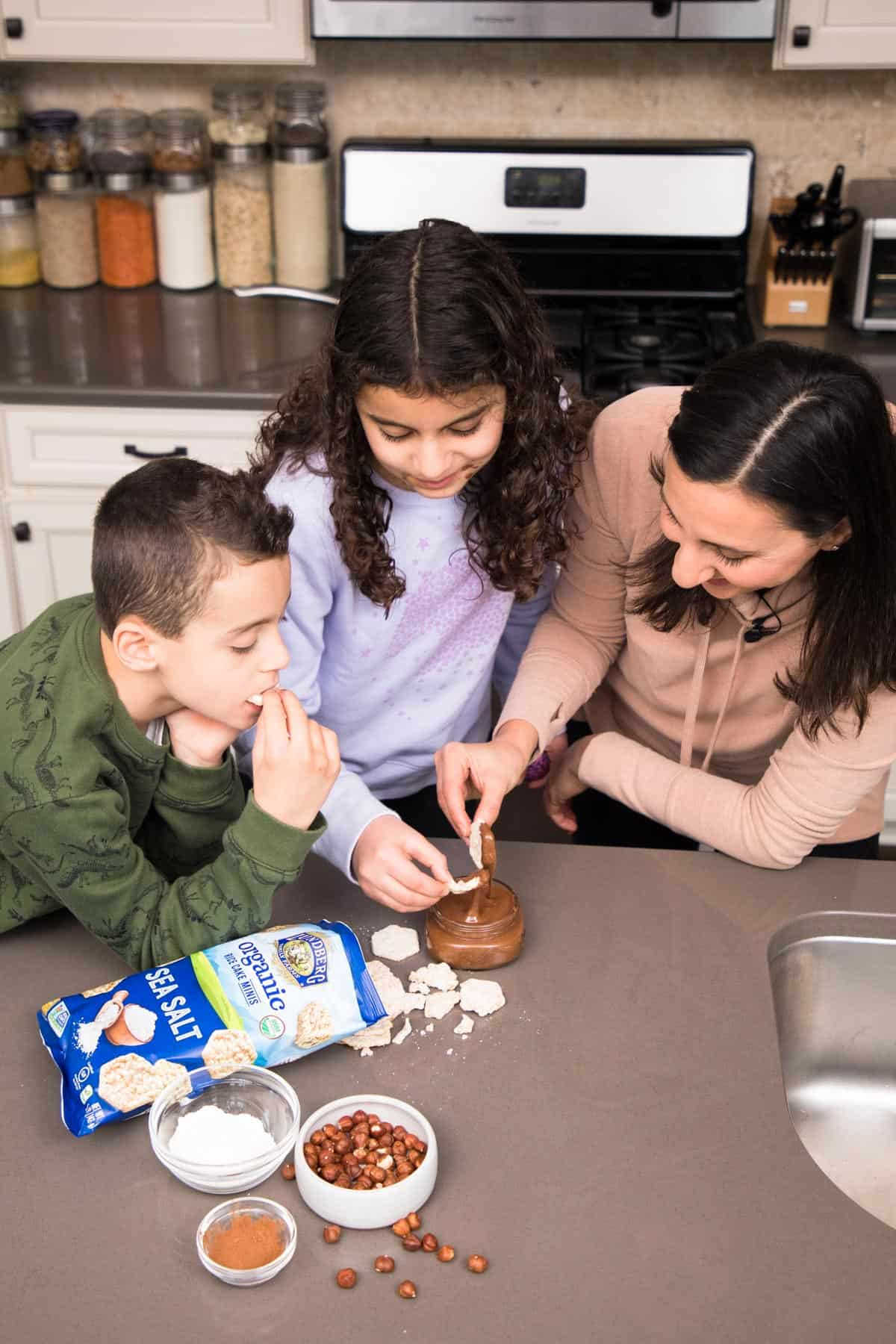 Enjoying nutella with rice with kids