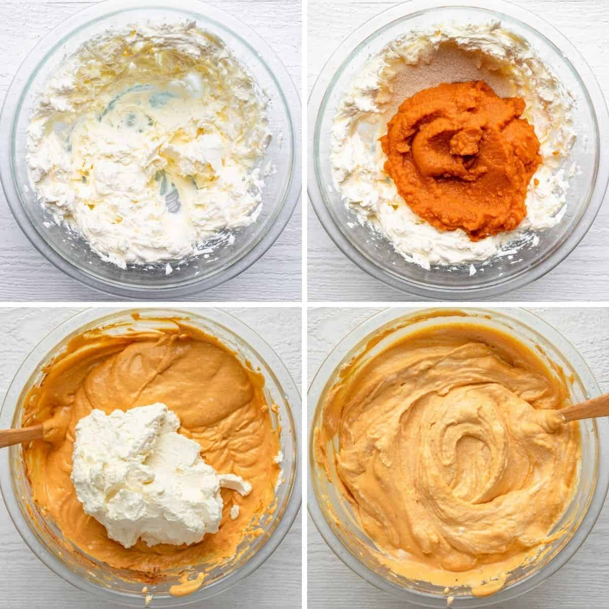 4 image collage to show how to make the pumpkin and cream cheese filling with whipped cream