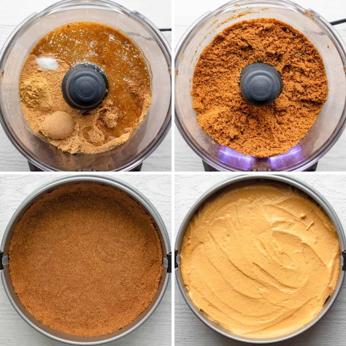 4 image collage to show how to make the crust in food processor and then adding the springform pan and then adding the filling on top
