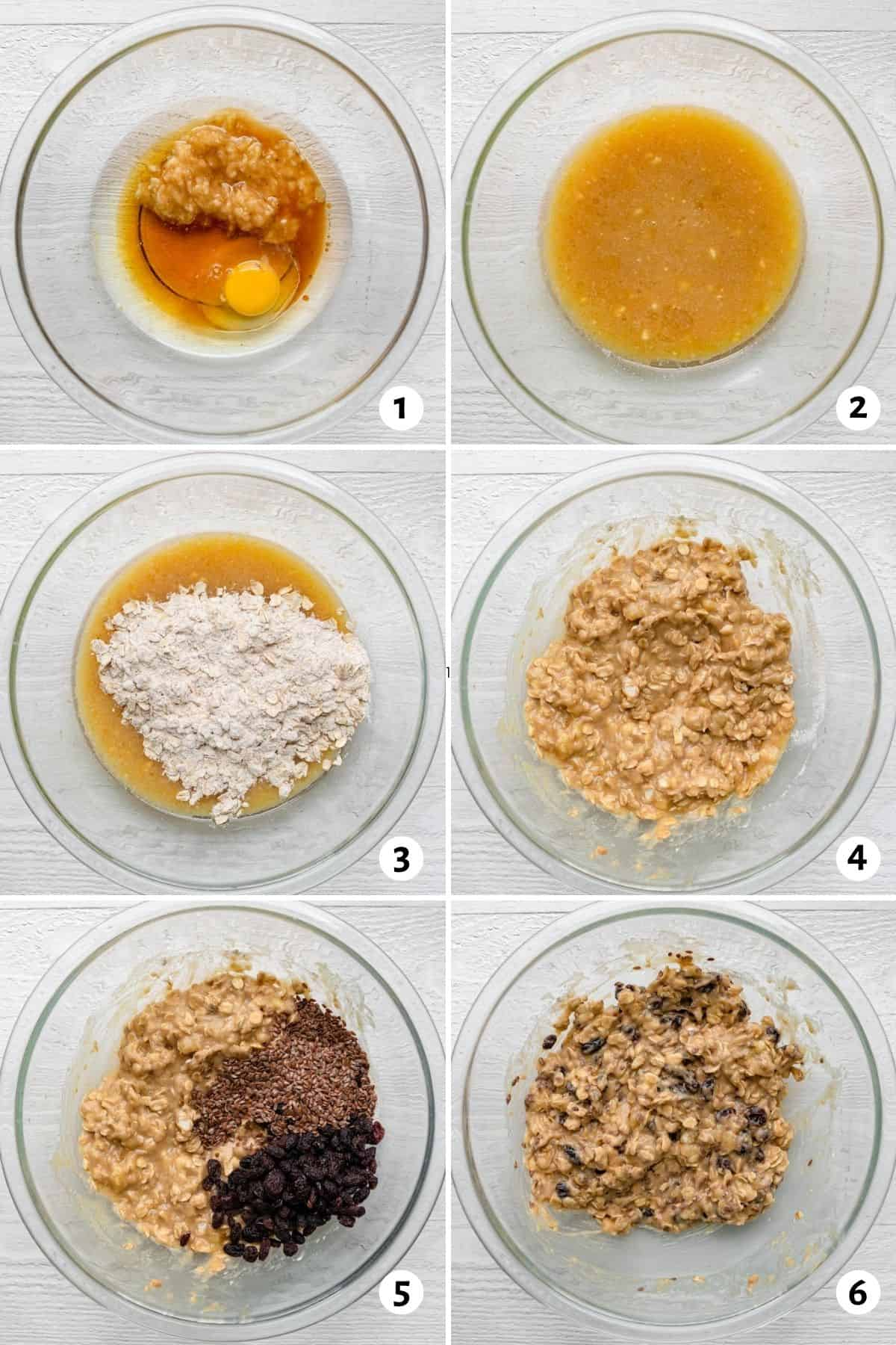 6 image collage to show how to make the cookie batter in one bowl