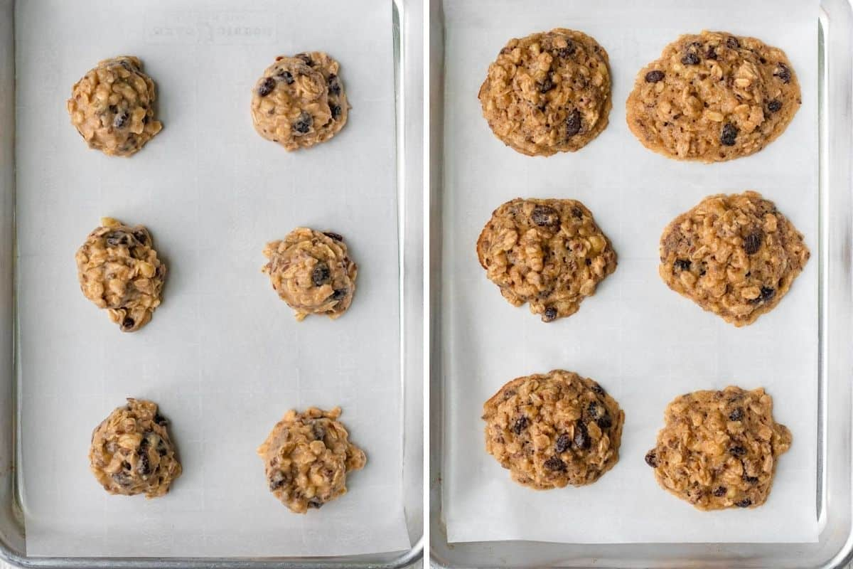 2 image collage to show the cookies before and after baking on baking sheet with parchment paper