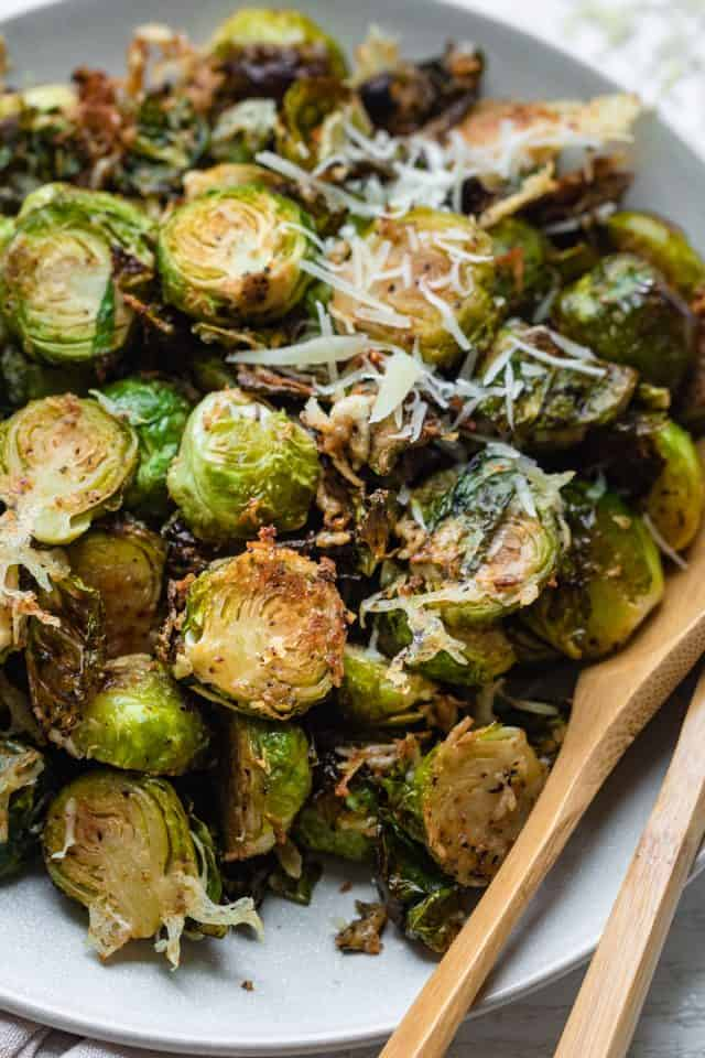 Brussel sprouts oven roasted topped with parmesan cheese