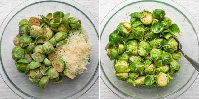 Two image collage of the brussels with the seasoning and cheese before and after mixing