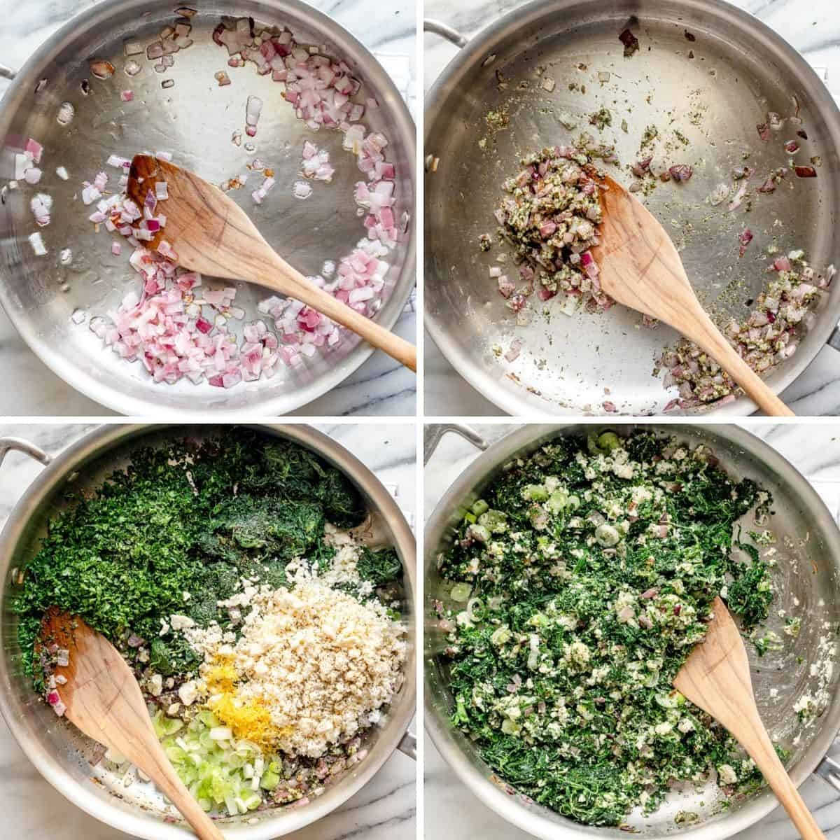 4 image collage showing how to make the spinach filling