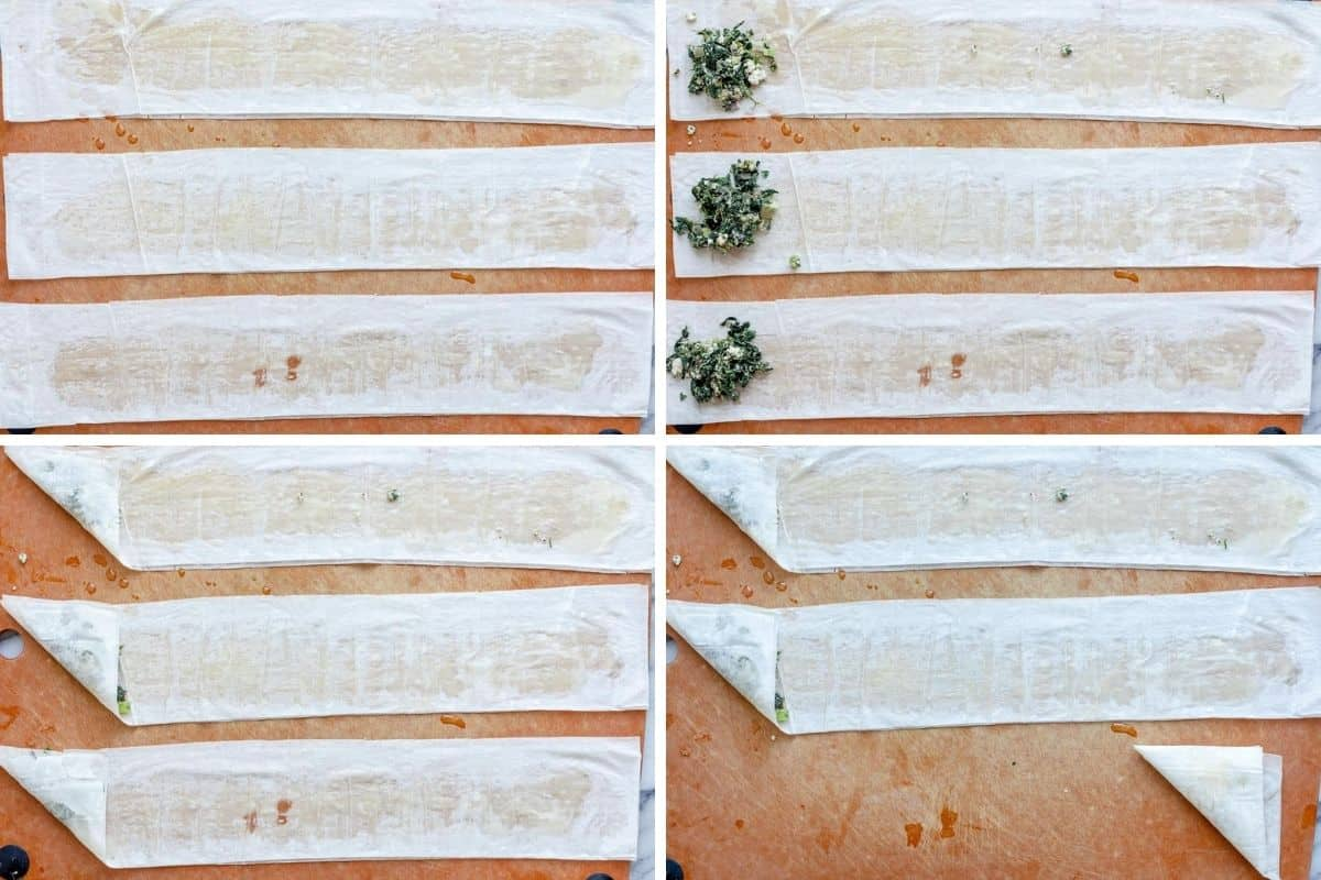 4 image collage showing how to roll them using phyllo sheets