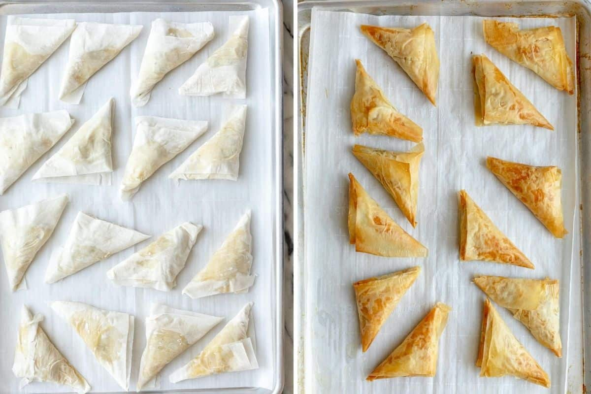 2 image collage showing the triangles before and after baking
